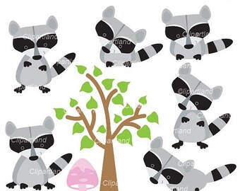 ON SALE INSTANT Download. Raccoon clip art. Cr_1. Personal and commercial use.