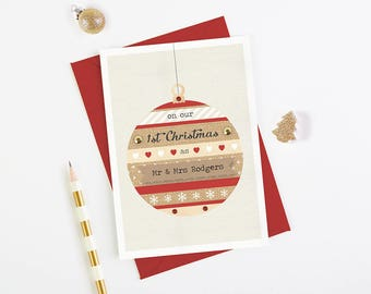 New Husband New Wife Christmas Card - personalised Mr & Mrs