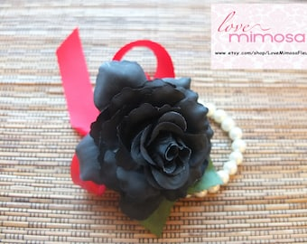 Wrist Corsage, Black Rose with Red ribbon on pearl bracelet
