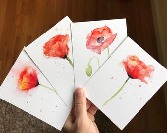 Poppy Flower Postcards Set Poppies Watercolor Cards Floral Cards Beautiful Art Print Cards Watercolor Poppies Abstract Poppy Art - Set of 4