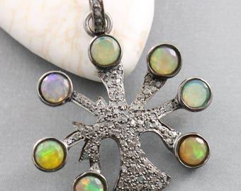 Pave Diamond Pendant, Pave Diamond and Opal Tree of Life Pendant, Diamond Opal Tree of Life Pendant, Opal Tree of Life Pendant, (DP-1479)