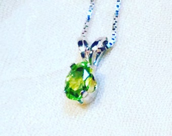 Classic Peridot Necklace In Sterling Silver, Handmade Jewelry By NorthCoastCottage Jewelry Design & Vintage Treasures