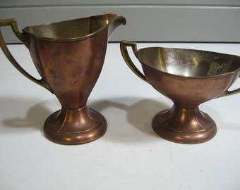 Vintage Copper Creamer and Sugar, Manning-Bowman Co., Farmhouse, Country, Rustic Decor