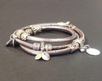 leather wrap bracelet, silver leather wrap bracelet, leather wrap, personalized leather bracelet, Leather bracelets for women