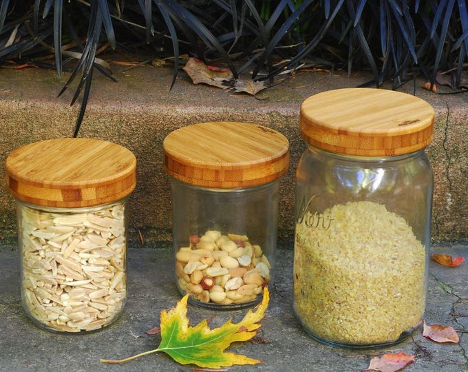 3 Wide Mouth Bamboo Mason Jar Lids with Seal - True screw top.