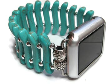 Flat Turquoise Apple Watch Band - Designer Apple Band - BeadsnTime - Turquoise and Silver Womans Apple Band - 38 mm or 42 mm Apple Band