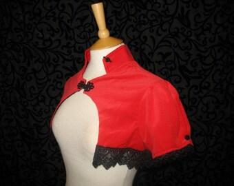 Red velvet shrug puffed sleeves steampunk goth Victorian vampire Venise lace trim size medium Obsidian SALE