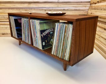 Low Boy mid century modern LP album storage cabinet featuring sapele mahogany with tapered wood legs.