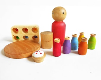 Wood peg doll imaginative play toy set with milk bottles crate table and muffin
