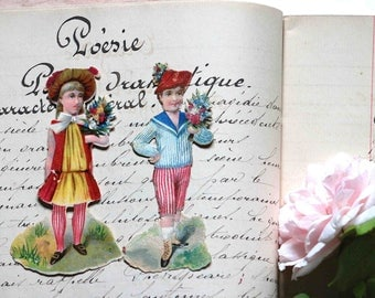 2 old french pictures - children - girl and boy- chromos