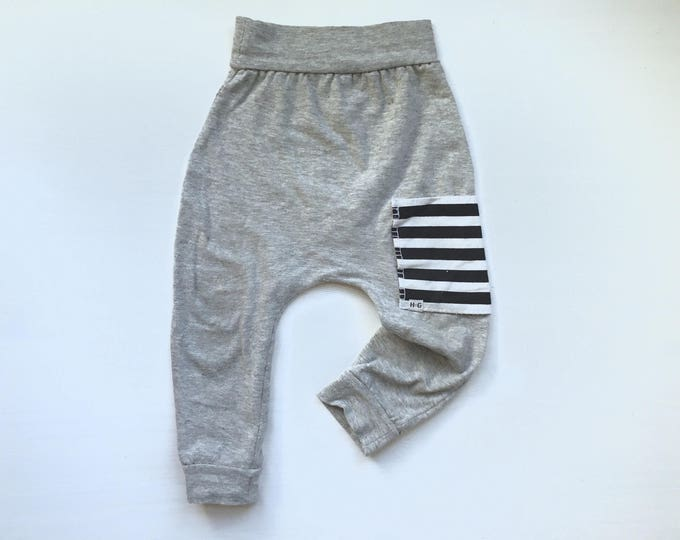 Featured listing image: Grey Sidecar Pocket Baby + Toddler Harem Pants/ Leggings
