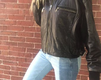 80s insulated leather bomber with faux fur collar