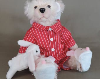 """Artist Teddy Bear, Evie in her PJ's, OOAK mohair with needle felted face, collectible, handmade teddy, fully jointed, 14"""" tall"""