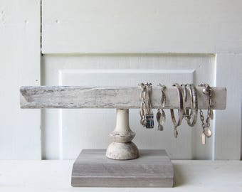 Weathered Gray Bracelet Holder - Architectural Salvage - Gray Bracelet Display with Square Bar - Quantities Available