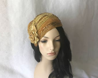Gold Vintage Inspired 1950s-1960s Half Hat, Gold Wedding hat,Gold Church hat, Gold fascinator hat, Gold Bridal Hat, Gold Straw Mesh hat