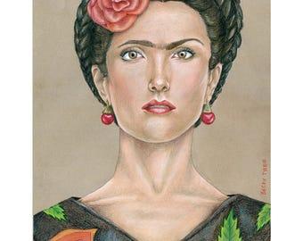 Salma Hayek, Frida,  Drawing, Movie Art, Poster