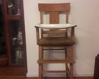 Arts & Crafts Mission Style Oak High Chair with white enamel  tray - Early 20th Century - Sturdy