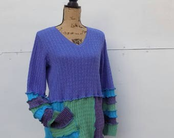 Colorful Cotton Sweater for Women - One of a Kind Repurposed Clothing - V Neck Pullover - Lavender Turquoise - Ladies Medium Large Apparel