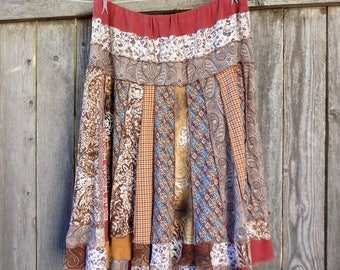 Gypsy Patchwork Skirt - Plus Size Clothing - Maxi Skirt - Hippie Hippy - Natural Earth Tones - Reduce Reuse Recycle - Twirl - Autumn Fall