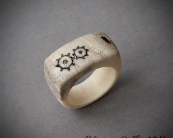 Engraved antler rings