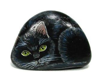 Black Cat Green Eyes painted rocks