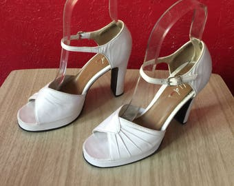 Vintage 1990s Wild Pair White Leather Peeptoe Strappy Platform Heels, Shoes ~ 7B
