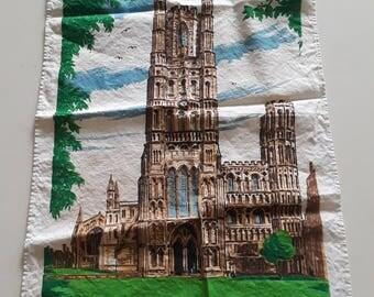 Vintage Irish tea towel - Ely Cathedral