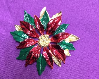 Christmas Poinsettia Brooch /Pin