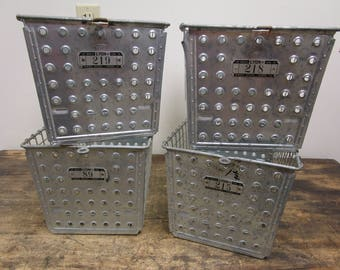 Lot of 4 1950s Vintage School Gym Industrial Wire Baskets- LYON