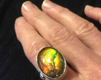 Ammolite Ring in Sterling