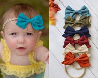 Sailor Bows on Nylon headband, Soft stretchy nylon baby headband, newborn headband, cotton bow headband, bow headband,  Nylon headband