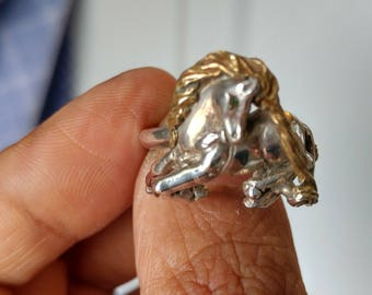 Vintage  silver unicorn ring 3D