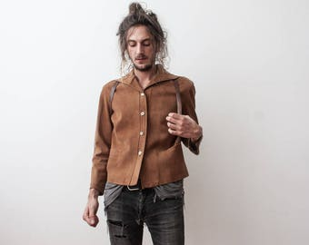 Suede Jacket 60s Beige Leather Jacket Small Boho Casual Autumn Jacket Outerwear Veste en Daim Fall Season
