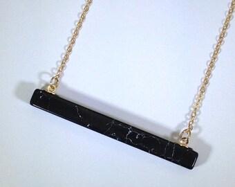 10% off SALE Howlite Necklace Gold Bar Necklace Marble Necklace Mens Necklace Howlite Jewelry 14K Gold Fill Jewelry Stone Necklace Howlite J