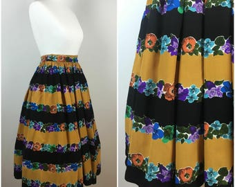 Vintage 1950s Skirt - 50s Swing Skirt - Neon Floral Taffeta - 1950s Circle Skirt - Rockabilly Pinup - x Small - UK 6 / US 2 / EU34 -