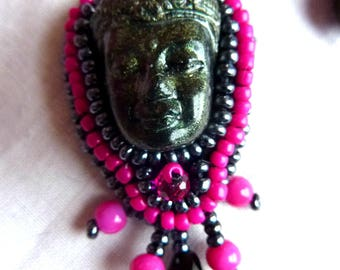 "Embroidered earrings ""Bayon Buddhas"""