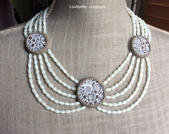 Embroidered ceramic MULTISTRAND necklace