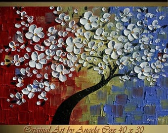 SALE Original  Modern Multicolored White Tree  Impasto Palette Knife Fine Art landscape Painting. MADE2ORDER
