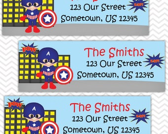 Captian America - Superhero - Personalized Address labels, Stickers, Baby Shower, Birthday