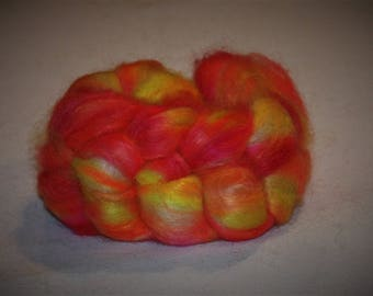 Hand Dyed Mohair Roving Fine Quality 90/10% Mohair/ wool top 2.2 oz  SKITTLES