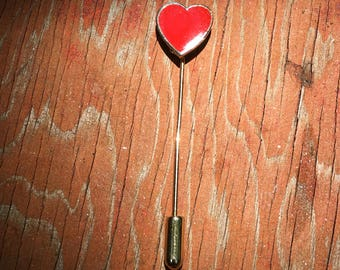 Vintage 1970's Enamel Red Heart Gold Tone Stick Pin Lapel Pin