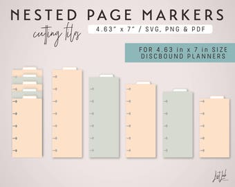 5 Nested PAGE MARKERS for Mini Discbound style Planners – Die Cutting Files Set - svg, png, pdf