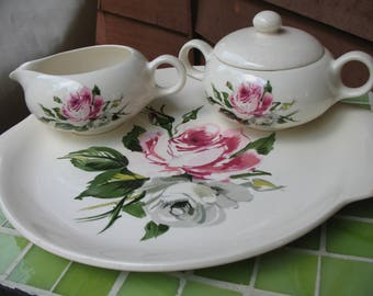 Vintage Salem China, Melody Lane Pattern, Cake Plate, Sugar Bowl and Creamer