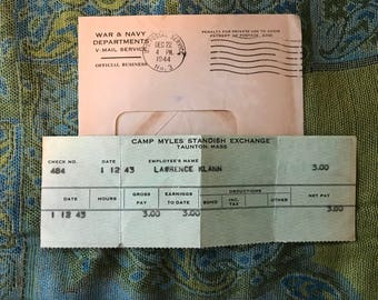WWII Army Pay Stub-w/ envelope-1/12/43-Net Pay-3 Dollars