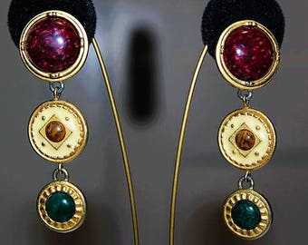 Vintage French Designer Couture High End Etruscan Cascading Dangle Earring E29