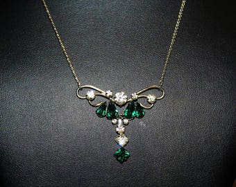 PHYLLIS Designer High End Emerald Rhinestone Art Deco Revival Necklace ND4