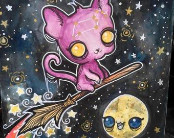 Galactic Sphynx Cat Watercolour Original Painting // Watercolor water color colour cat witch stars rainbow creepy cute art