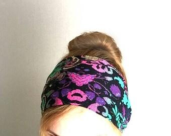 hippie headband extra large bandana boho womens head band purple wide summer 70s music festival headwrap hair wraps beach hair cover