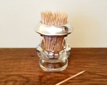 Sterling Laben Toothpick Holder - Sterling & Glass Collectible Toothpick Holder - Matchstick Holder - Dining Hors d'oeuvres Toothpick Holder