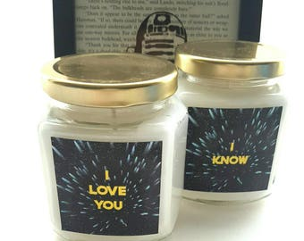 Star Wars, Christmas in July, Han Solo, Princess Leia, I love you, I know, Chewbacca, Wholesale Candles, Anniversary, Wedding, Father's day